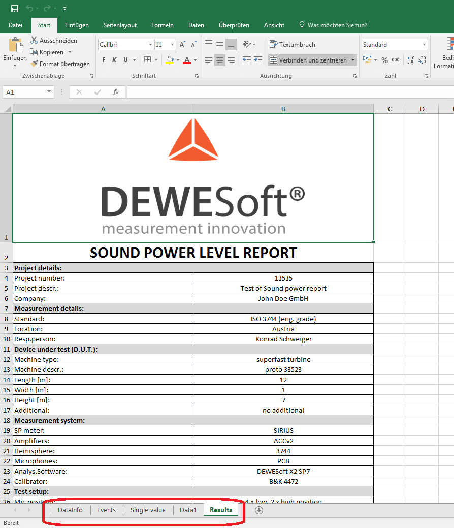 Sound Power Measurement  Sound Power Report  Dewesoft Training Portal Regarding Sound Report Template