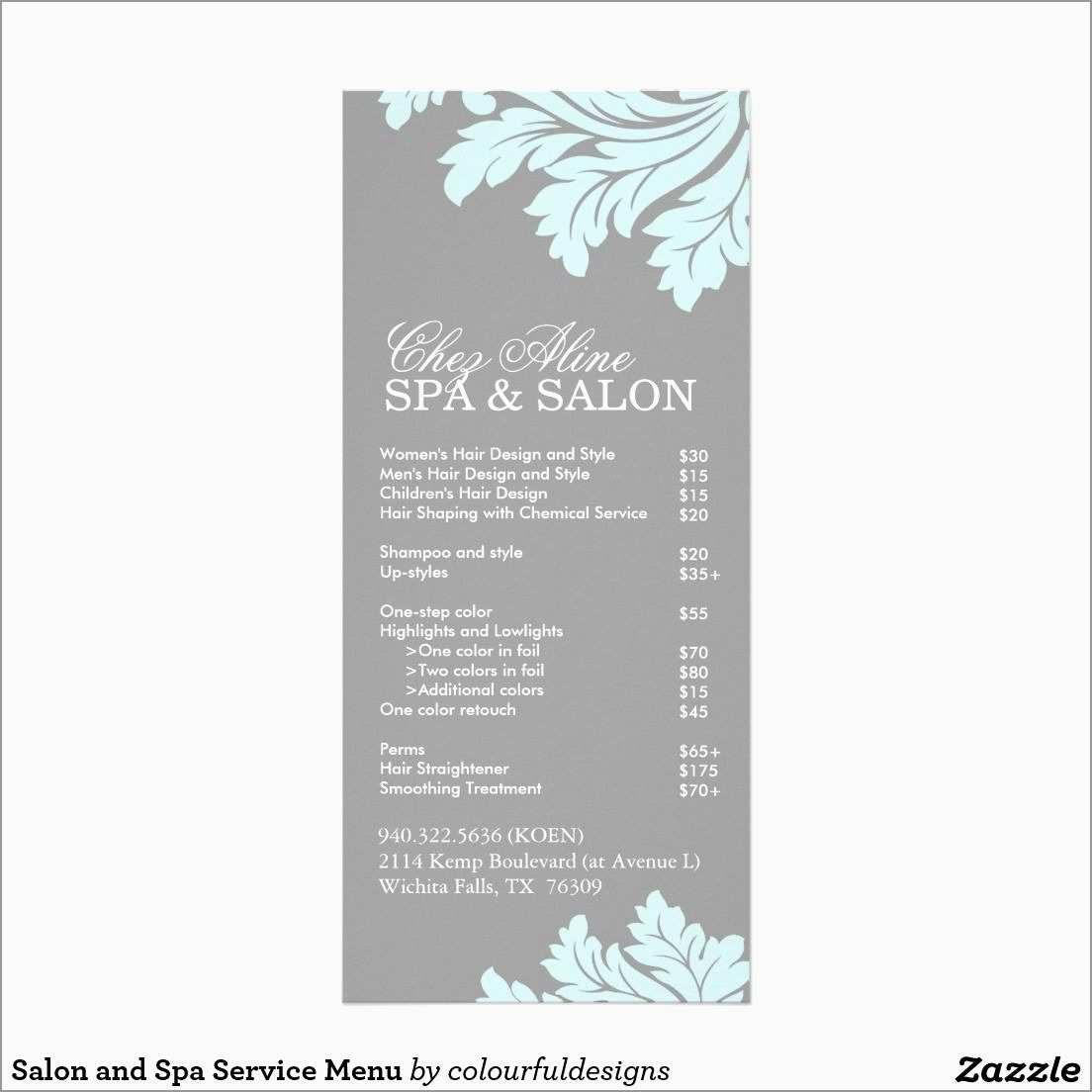 Spa Menu Template Free Pleasant Salon Menu Of Services  Best Of With Regard To Salon Service Menu Template