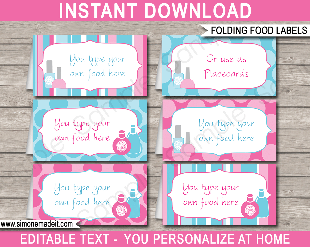Spa Party Food Labels  Place Cards  Spa Theme  Party Decorations With Food Label Template For Party