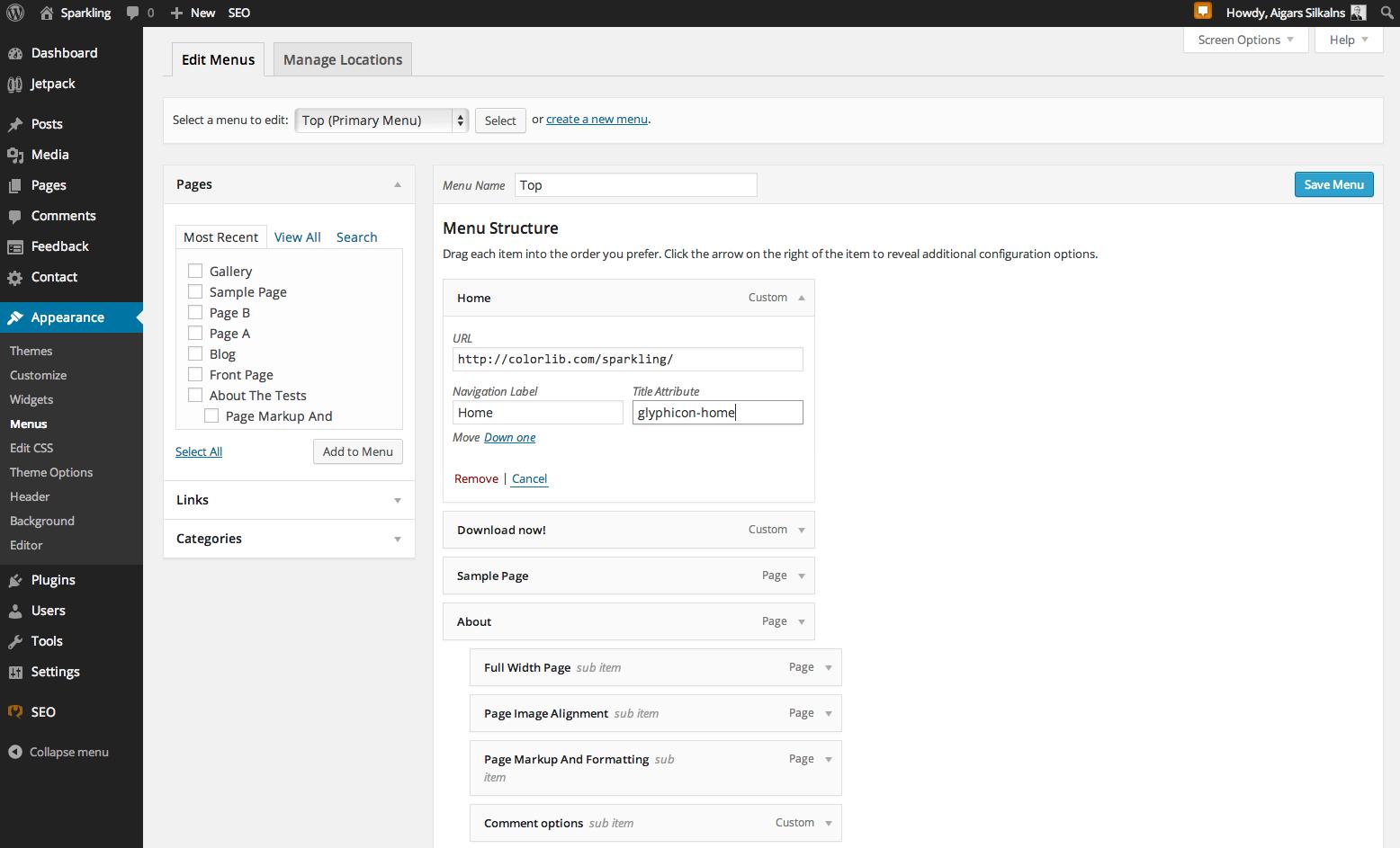 Sparkling Theme Documentation  Colorlib For WordPress Custom Menu Template