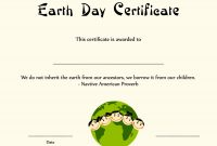 Special Certificates  Kids Earth Day Certificate Template in Player Of The Day Certificate Template