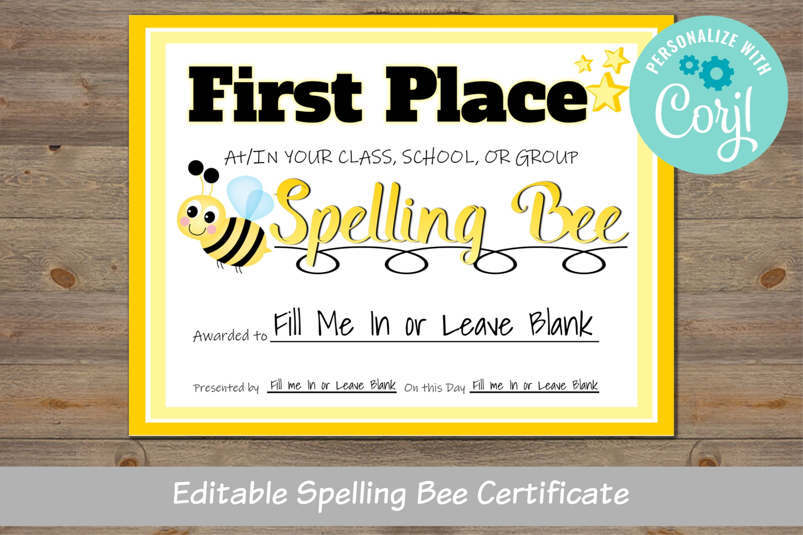 Spelling Bee Award Certificate For School For Classroom For  Etsy With Spelling Bee Award Certificate Template