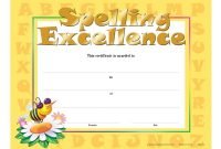 Spelling Excellence Goldfoil Stamped Certificates  Positive Promotions regarding Spelling Bee Award Certificate Template