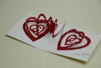 Spiral Heart Pop Up Card Template  Creative Pop Up Cards with 3D Heart Pop Up Card Template Pdf