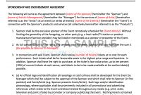 Sponsorship Contract Template For Artists within Corporate Sponsorship Agreement Template