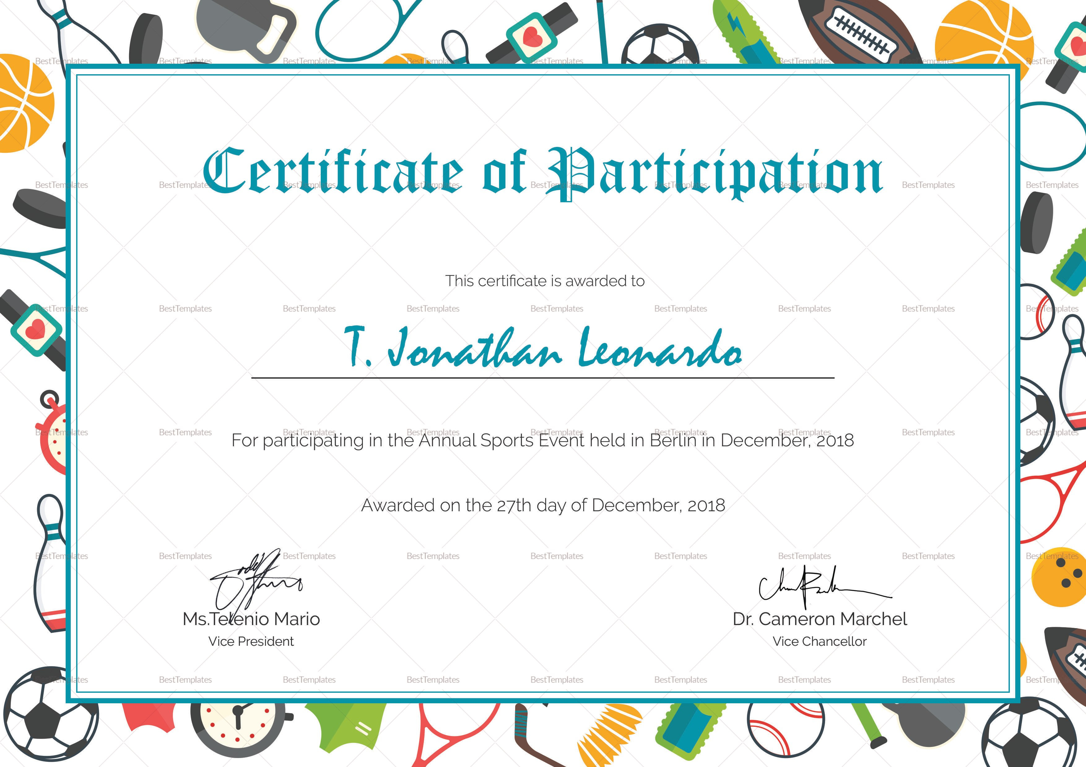 Sports Participation Certificate Design Template In Psd Word Pertaining To Athletic Certificate Template