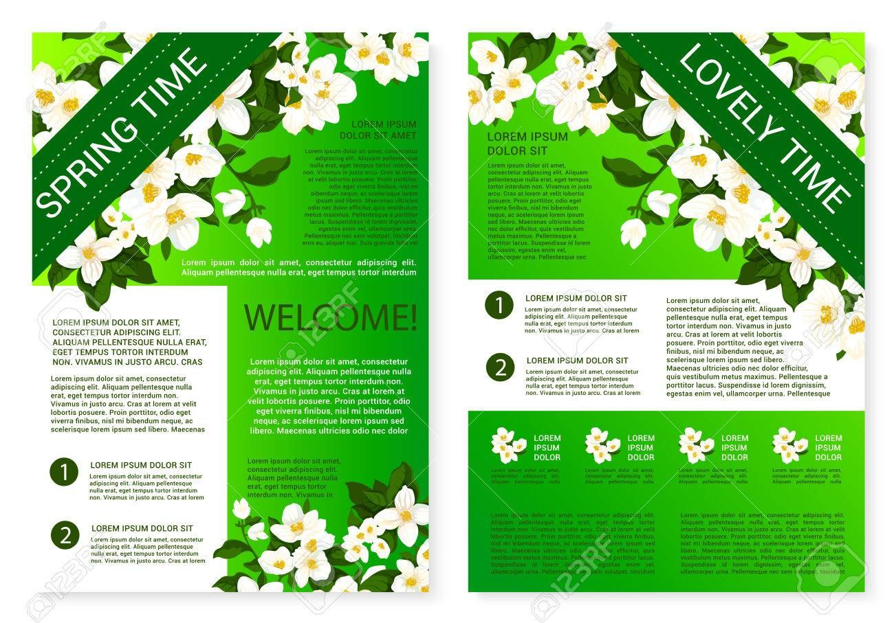 Spring Flowers Welcome Brochure Template Design Royalty Free Inside Welcome Brochure Template