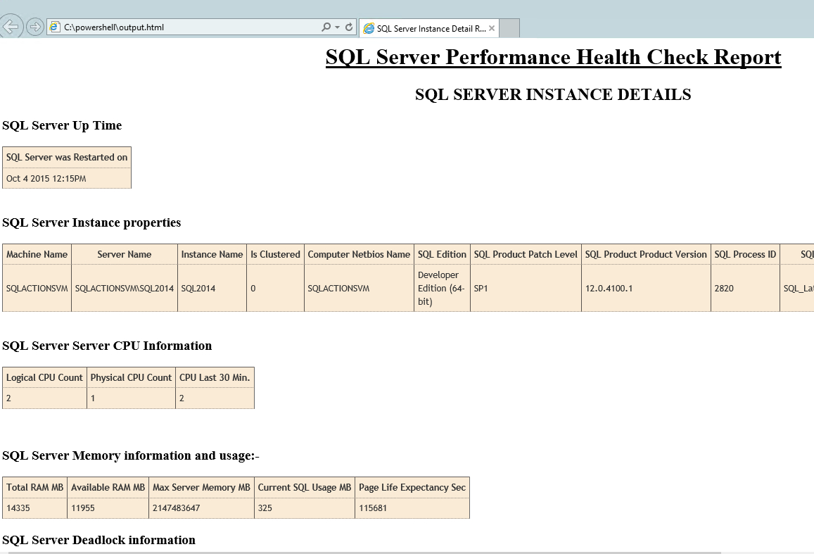 Sql Server Health Check Using Powershell And Tsql  Sqlactions With Sql Server Health Check Report Template