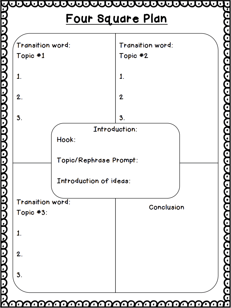 """Square Paragraphs"""" Writing Technique All Materials And Lessons Pertaining To Blank Four Square Writing Template"""
