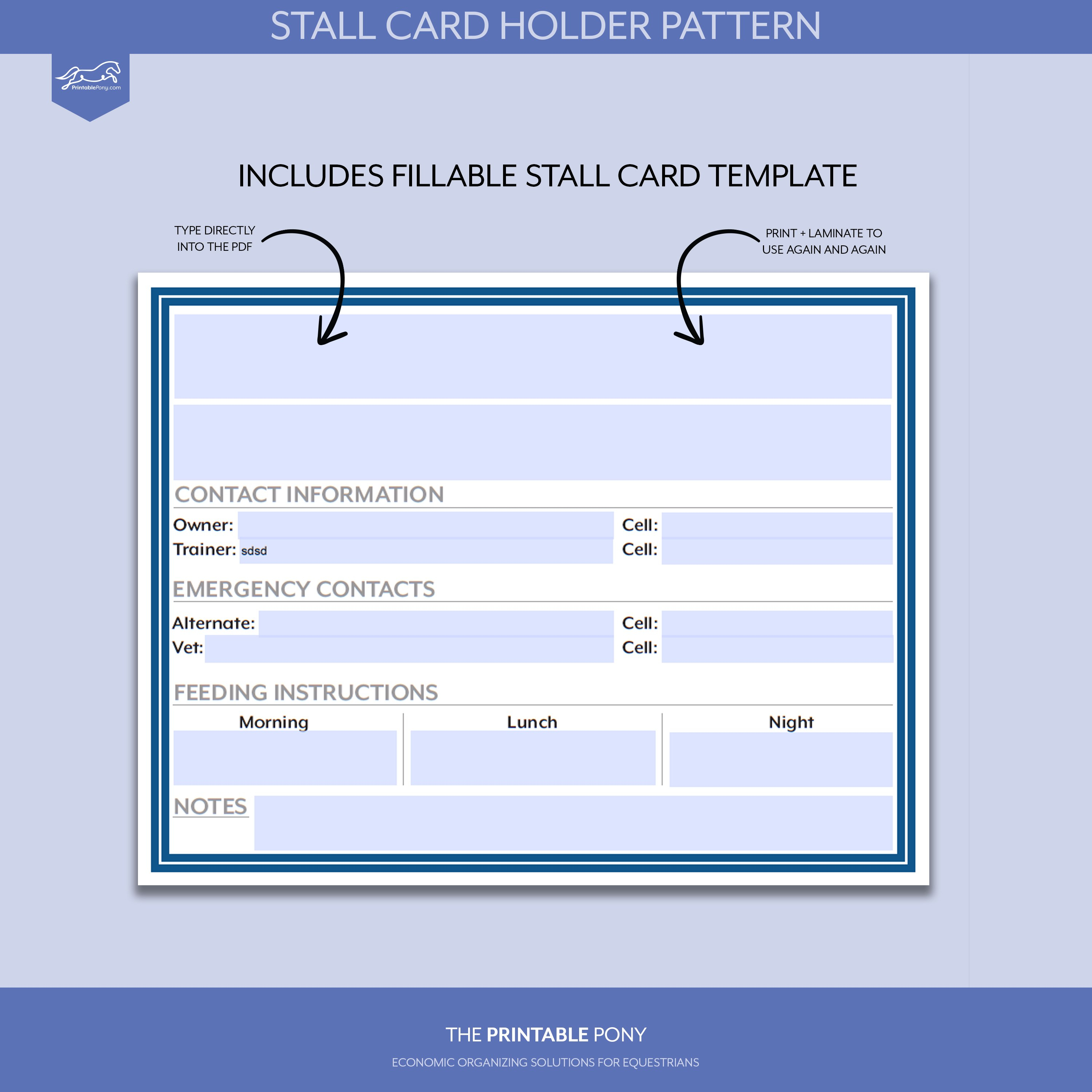 Stall Card Holder Pattern  Printable Stall Card  The Printable Pony Within Horse Stall Card Template