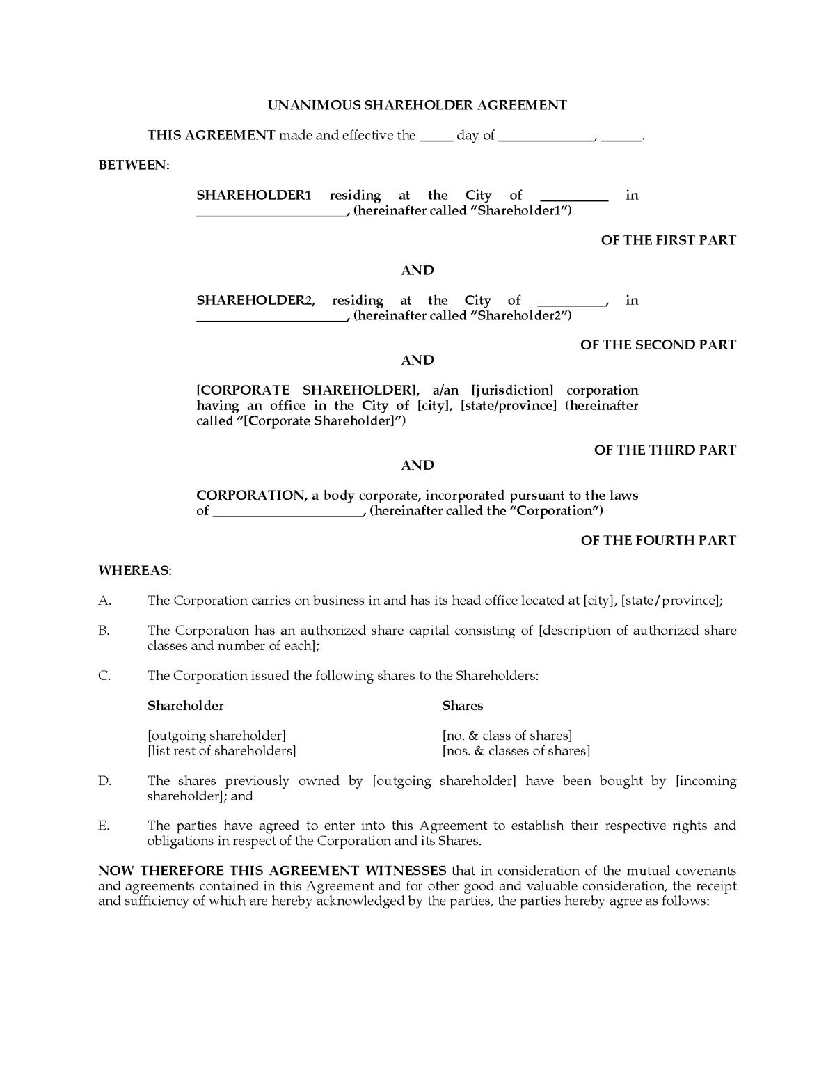 Standard Plain Unanimous Share Holder Agreement Document Letter With Regard To Unanimous Shareholder Agreement Template