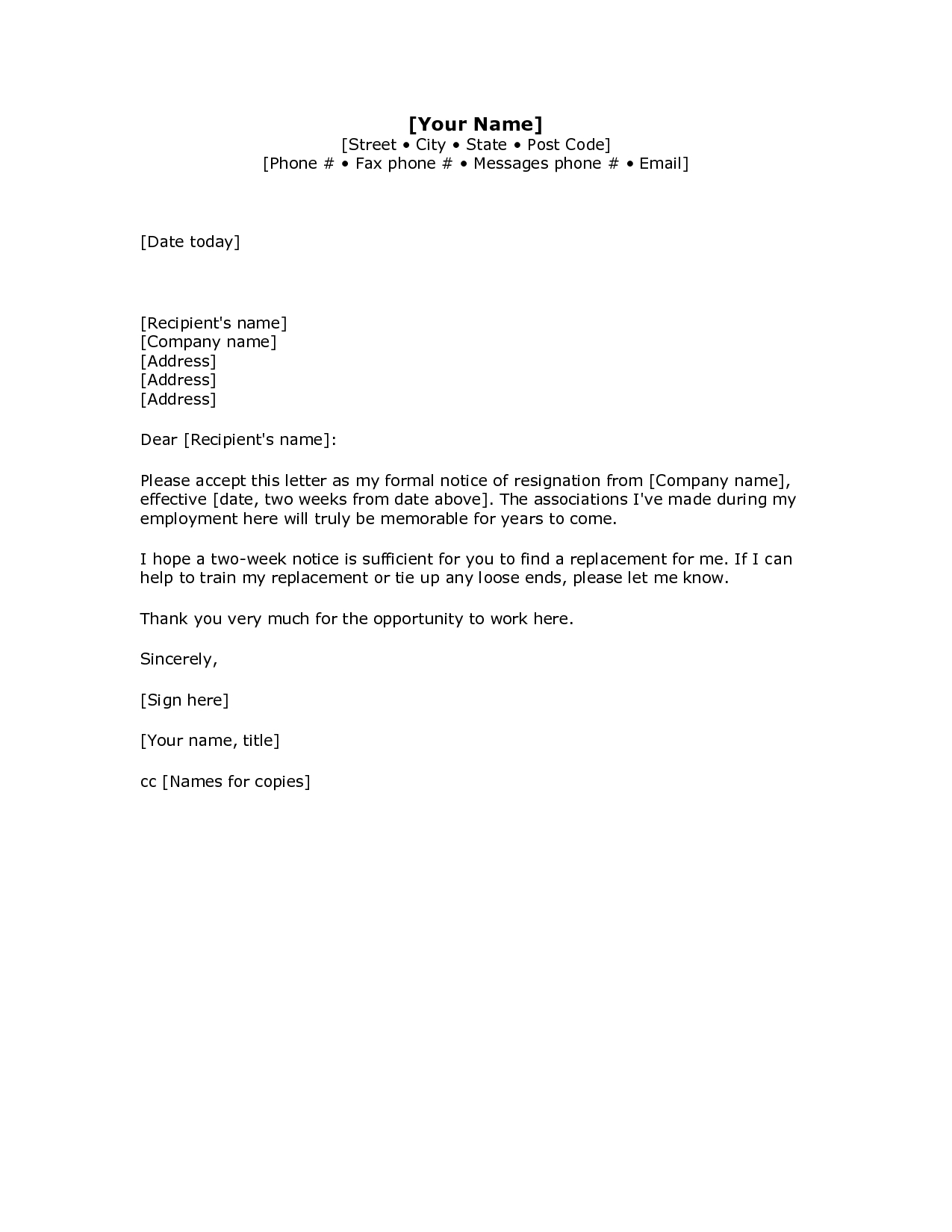 Standard Resignation Letter Template Word Collection Throughout Two Week Notice Template Word