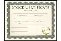 Stock Certificate Template  Best Template Collection  Stock For with Stock Certificate Template Word