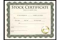 Stock Certificate Template  Template Business intended for Template Of Share Certificate