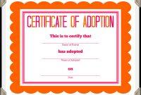 Stuffed Animal Adoption Certificate pertaining to Pet Adoption Certificate Template
