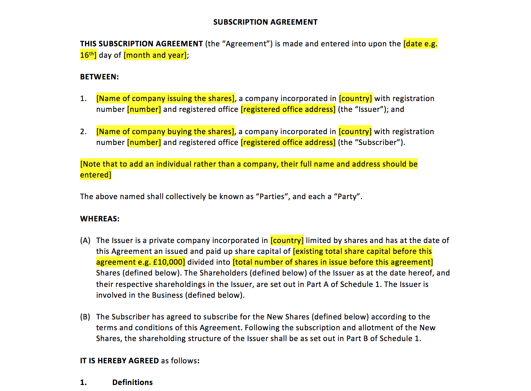Subscription Agreement Template – Uk Template Agreements And Sample In Shareholders Agreement Template For Small Business