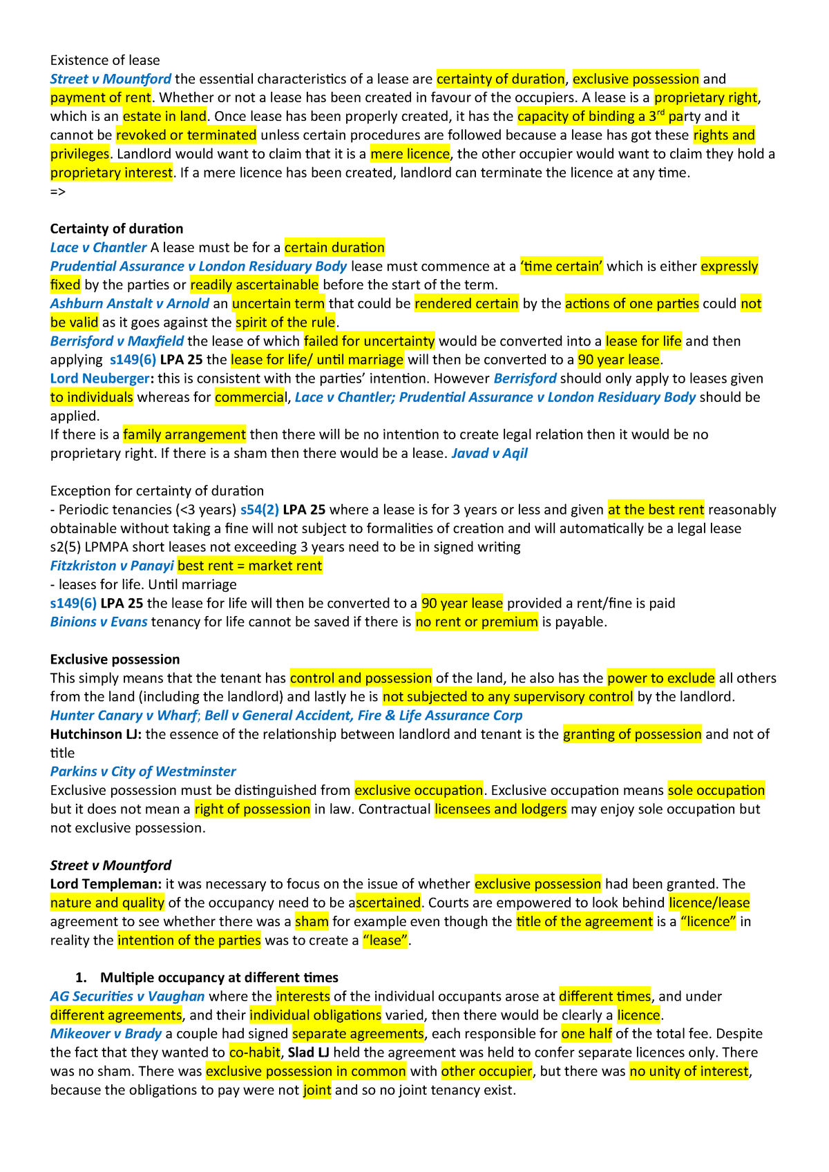 Summary Remf Remf  Apr   Studocu In Excluded Licence Lodger Agreement Template