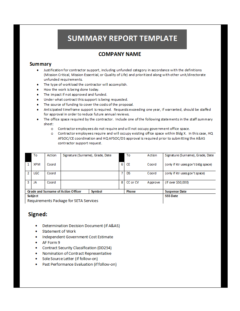 Summary Report Template Inside Evaluation Summary Report Template