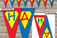 Superhero Party Banner Template  Birthday Banner  Editable Bunting for Superhero Water Bottle Labels Template