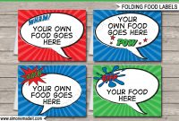 Superhero Theme Food Labels  Place Cards  Party Decorations within Superhero Water Bottle Labels Template