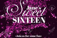 Sweet Sixteen Glitter Party Invitation Flyer Template Design intended for Sweet 16 Banner Template