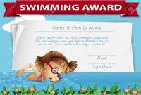 Swimming Award Certificate Template Illustration Royalty Free with Swimming Award Certificate Template