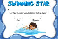 Swimming Star Certification Template With Swimmer Vector Image regarding Swimming Certificate Templates Free