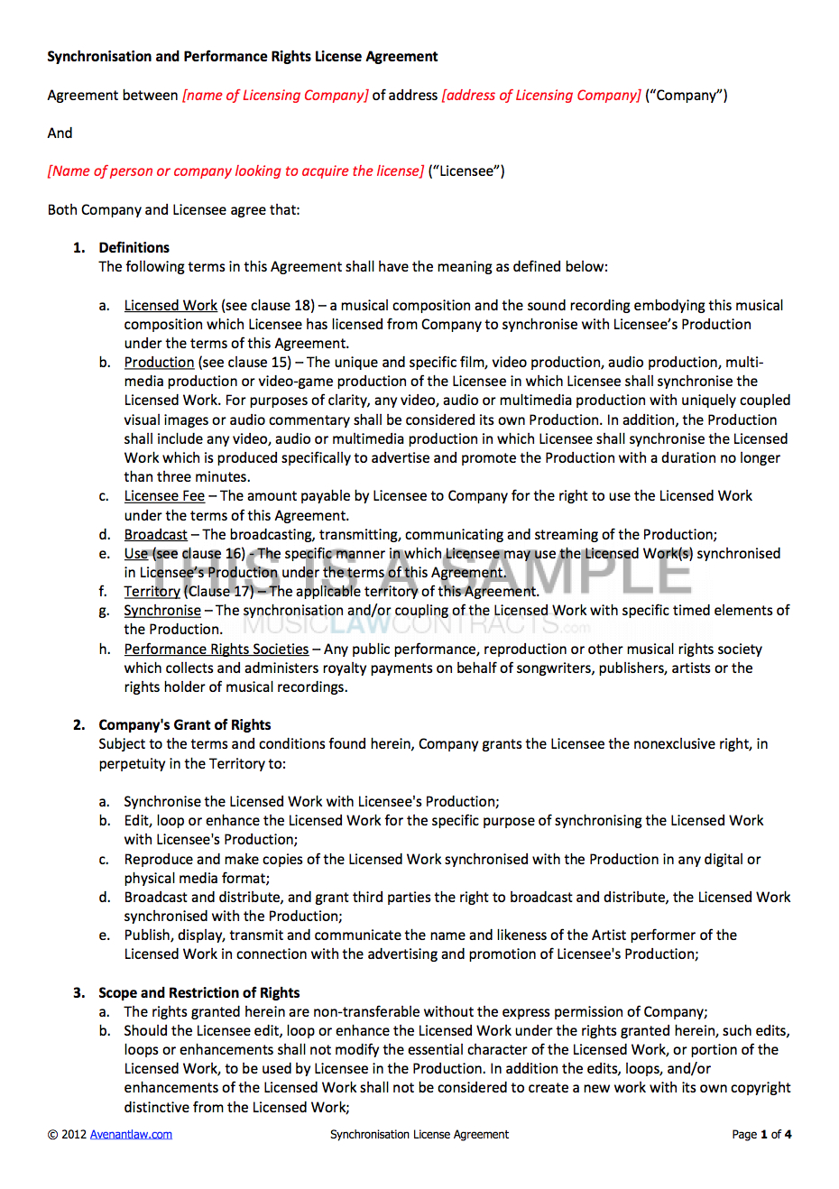 Synchronisation License Contract Template With Regard To Tv Show Sponsorship Agreement Template
