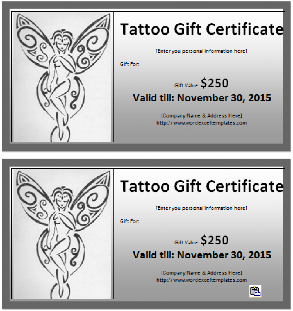 Tattoo Gift Certificate Templates Free Sample With Printable Pertaining To Tattoo Gift Certificate Template