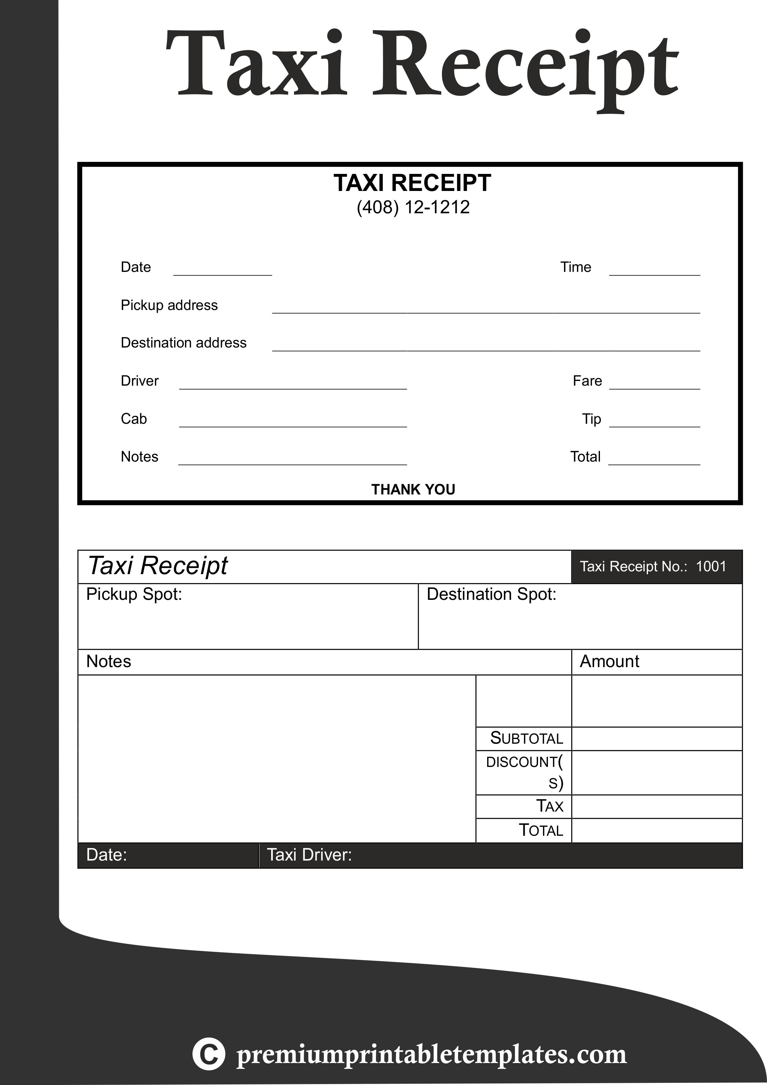 Taxi Receipt Templates  Receipt Templates  Receipt Template Within Blank Taxi Receipt Template