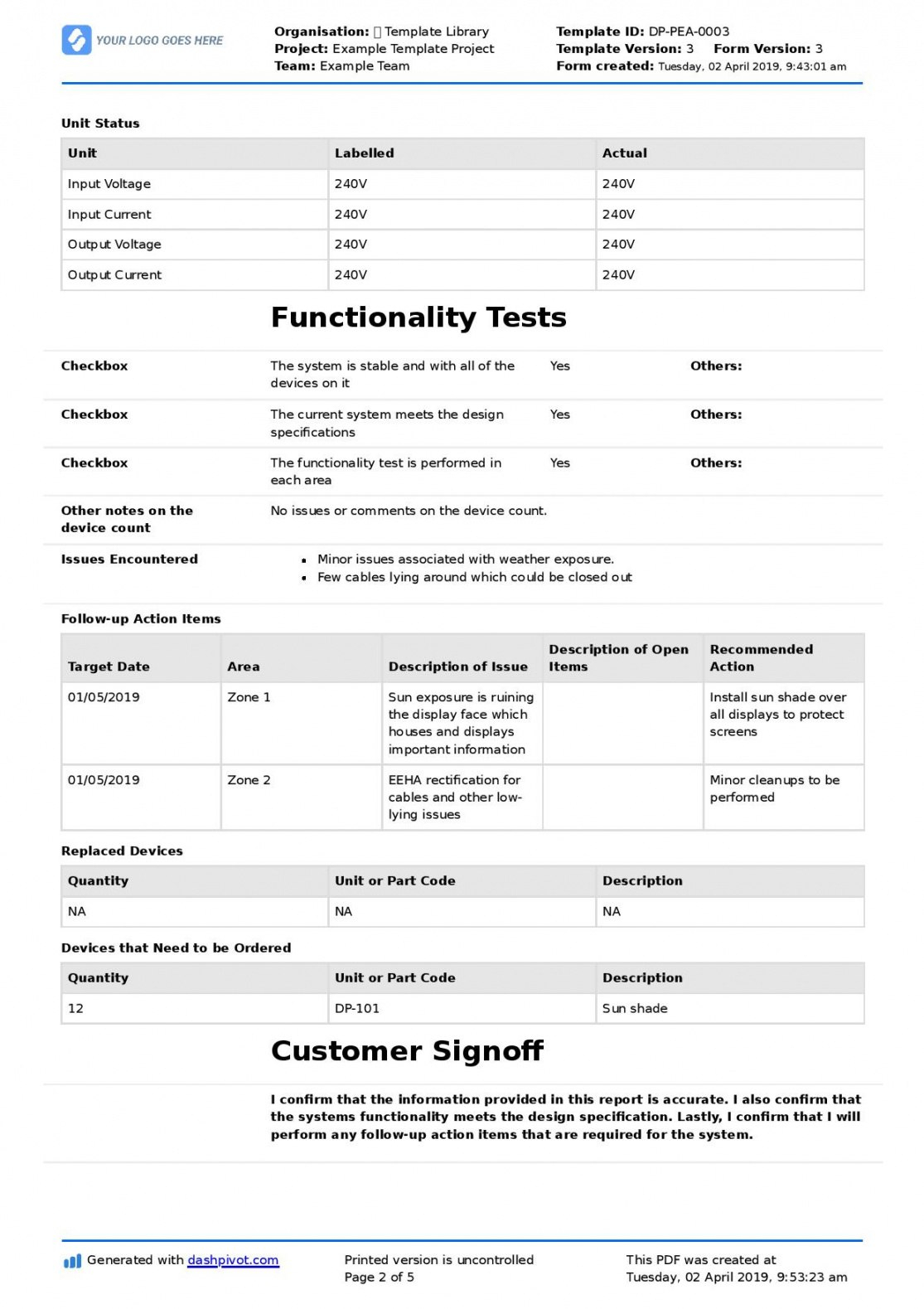 Technical Service Report Template Intended For Technical Service Report Template