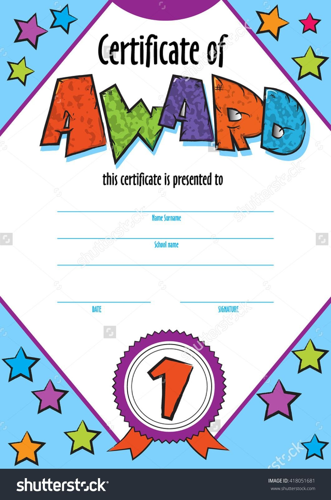 Template Child Certificate To Be Awarded Kindergarten Preschool Pertaining To Children's Certificate Template