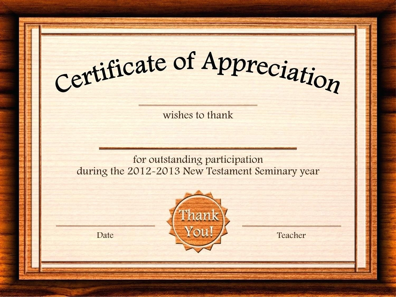 Template Editable Certificate Of Appreciation Template Free With Regard To Certificate Of Participation Word Template