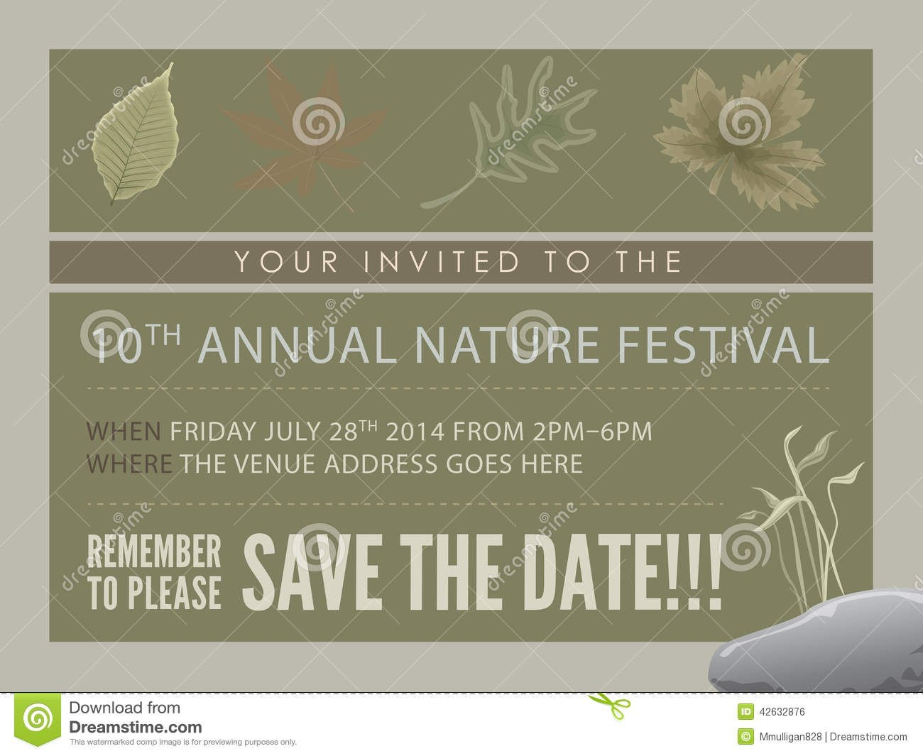 Template Event Flyer Or Save The Date Card Stock Illustration Inside Save The Date Business Event Templates