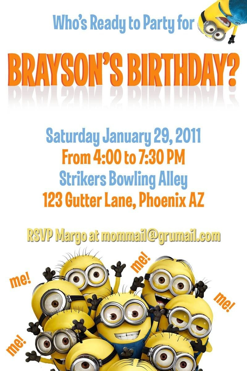 Template For A Dispicable Me Invitation Cards  Despicable Me Intended For Minion Card Template