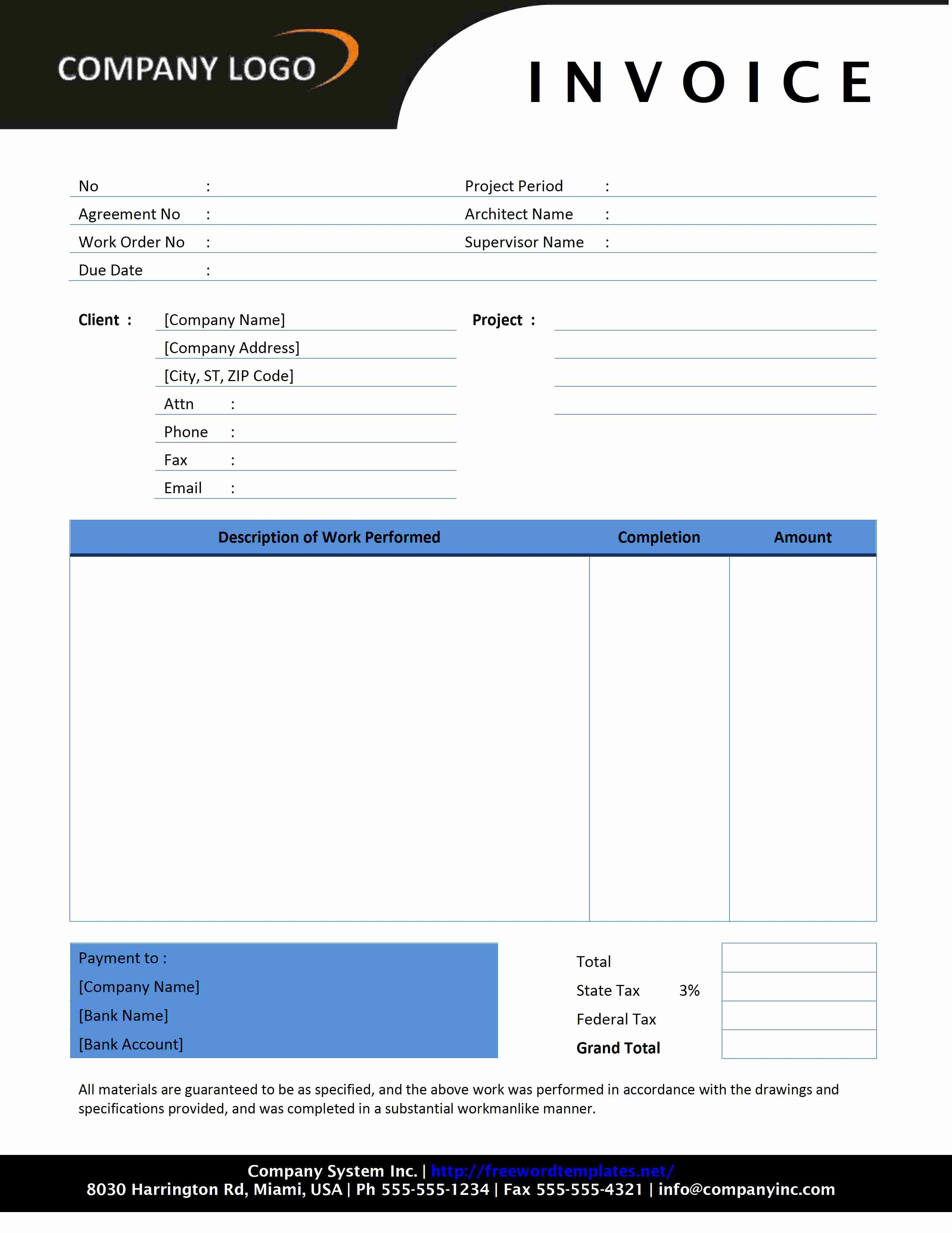 Template For Contractor Invoice – Wfacca Pertaining To Contractors Invoices Free Templates