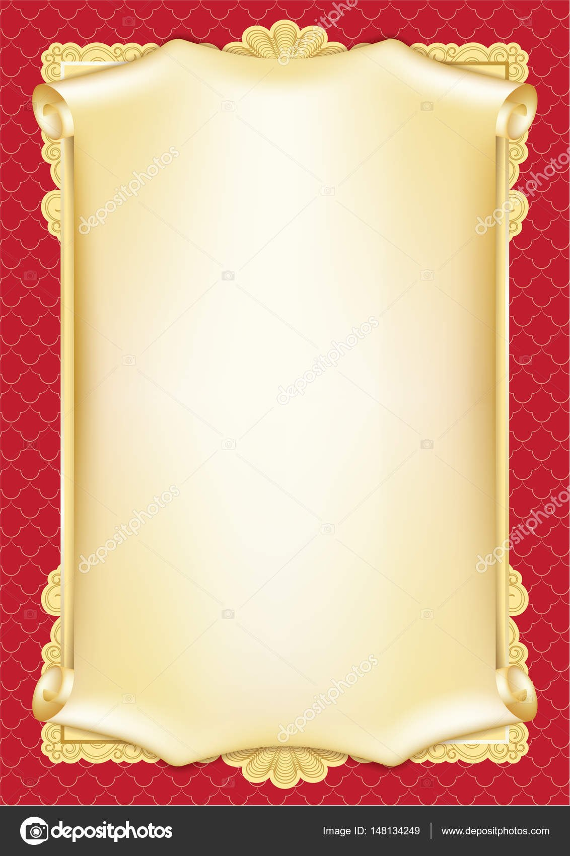 Template For Diploma Certificate Card With Scroll And Decorative For Scroll Certificate Templates