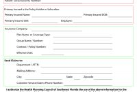 Template For Insurance Information In Planner  Blank Medical intended for Customer Information Card Template