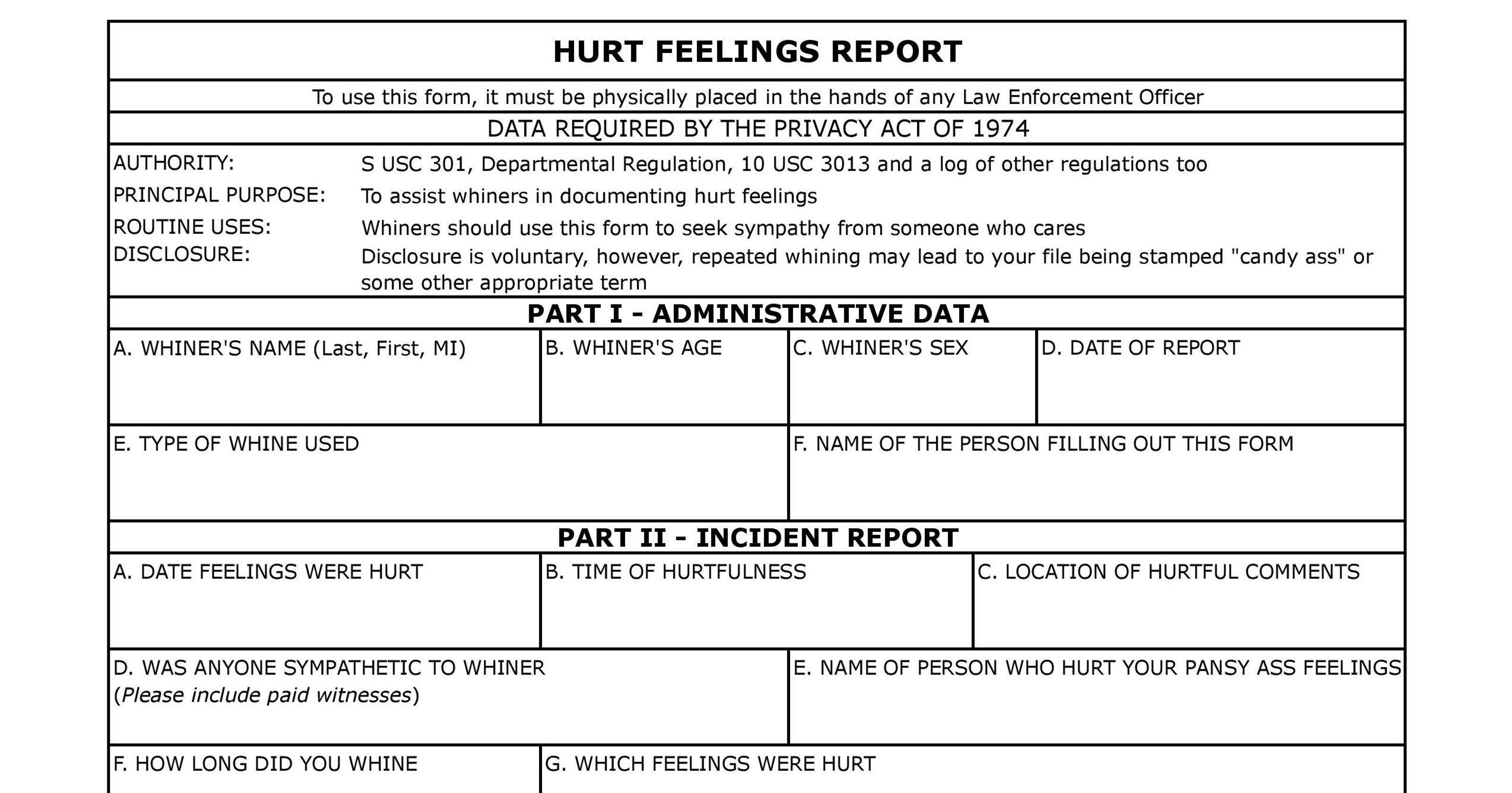 Template Hurt Feelings Report  Savethemdctrails Regarding Hurt Feelings Report Template