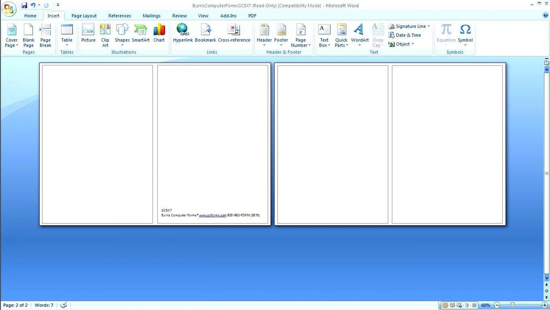 Template Ideas Card Blank Half Fold Greeting Microsoft With Half Fold Card Template