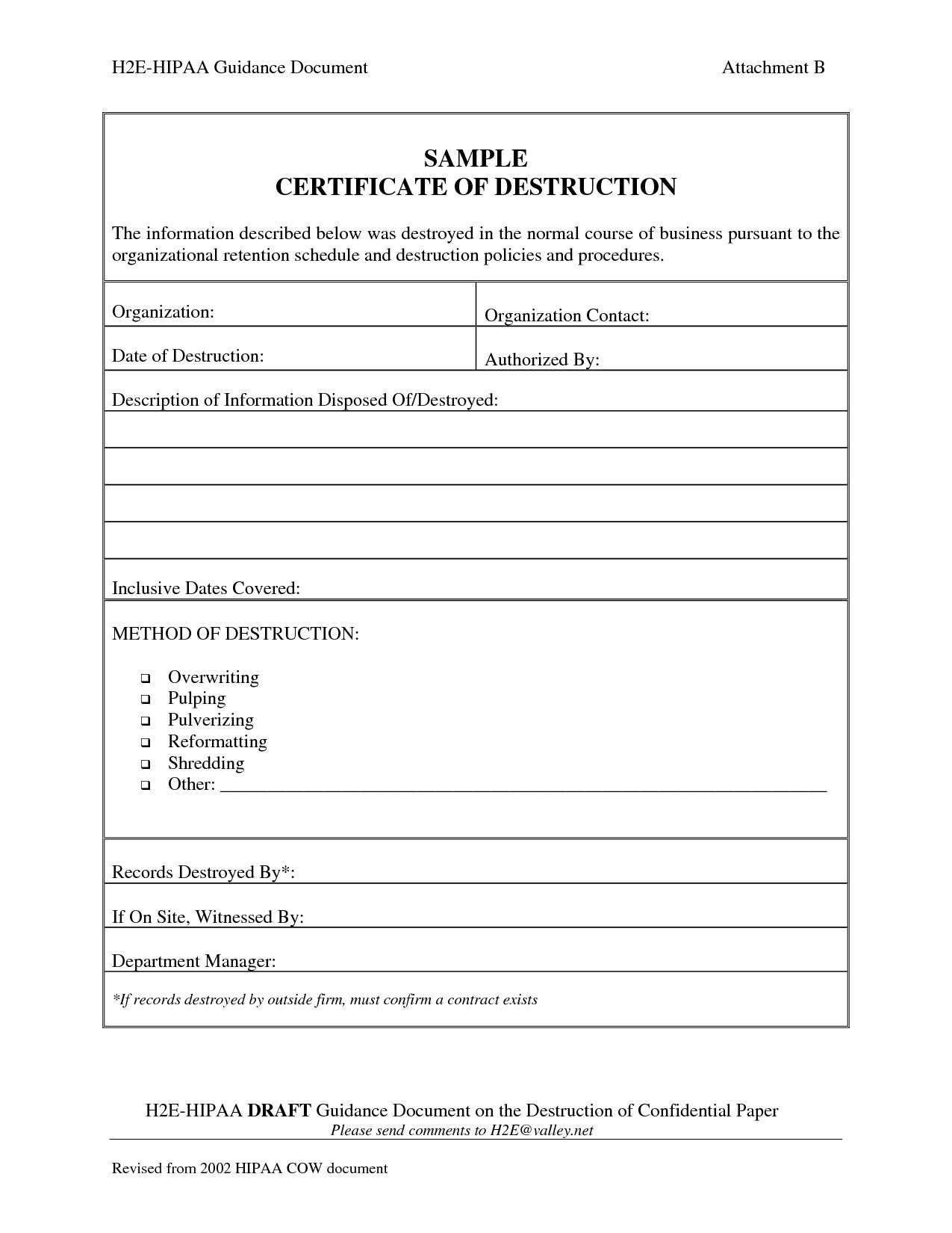 Template Ideas Certificate Of Destruction Frightening Product With Free Certificate Of Destruction Template