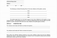 Template Ideas Free Parenting Plan Child Custody Agreement within Free Joint Custody Agreement Template