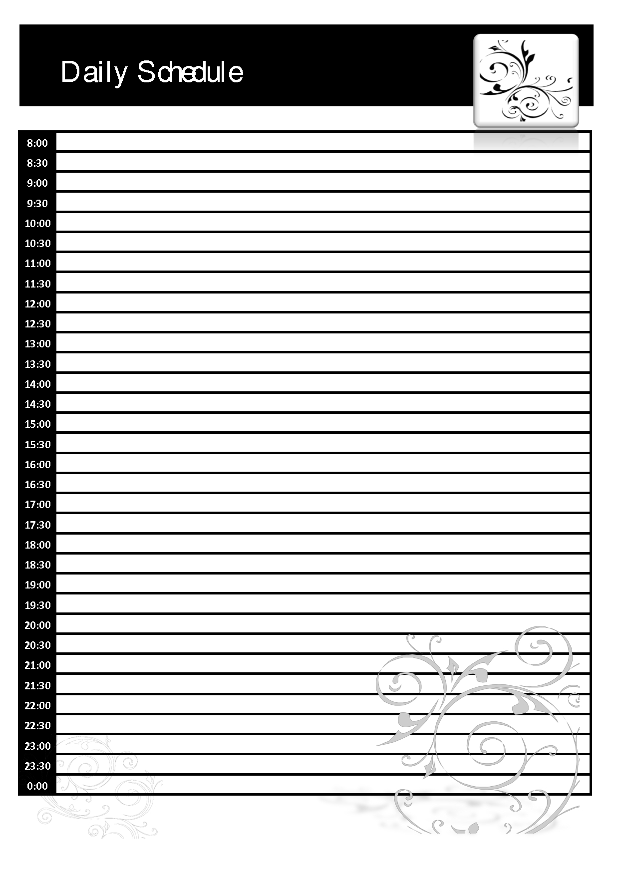 Template Ideas Free Printable Daily Schedule Blank With Printable Blank Daily Schedule Template