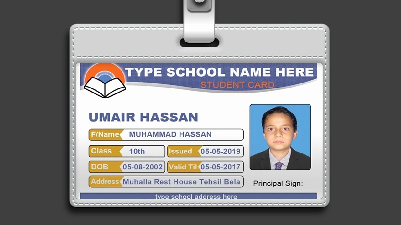 Template Ideas Screenshot  Id Card Stunning Photoshop School Throughout Template For Id Card Free Download