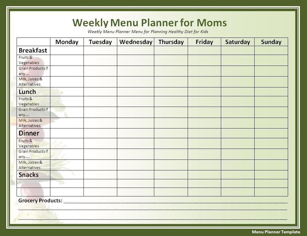 Template Ideas Weekly Meal Plan Chart Blank Printable With Regard To Menu Chart Template