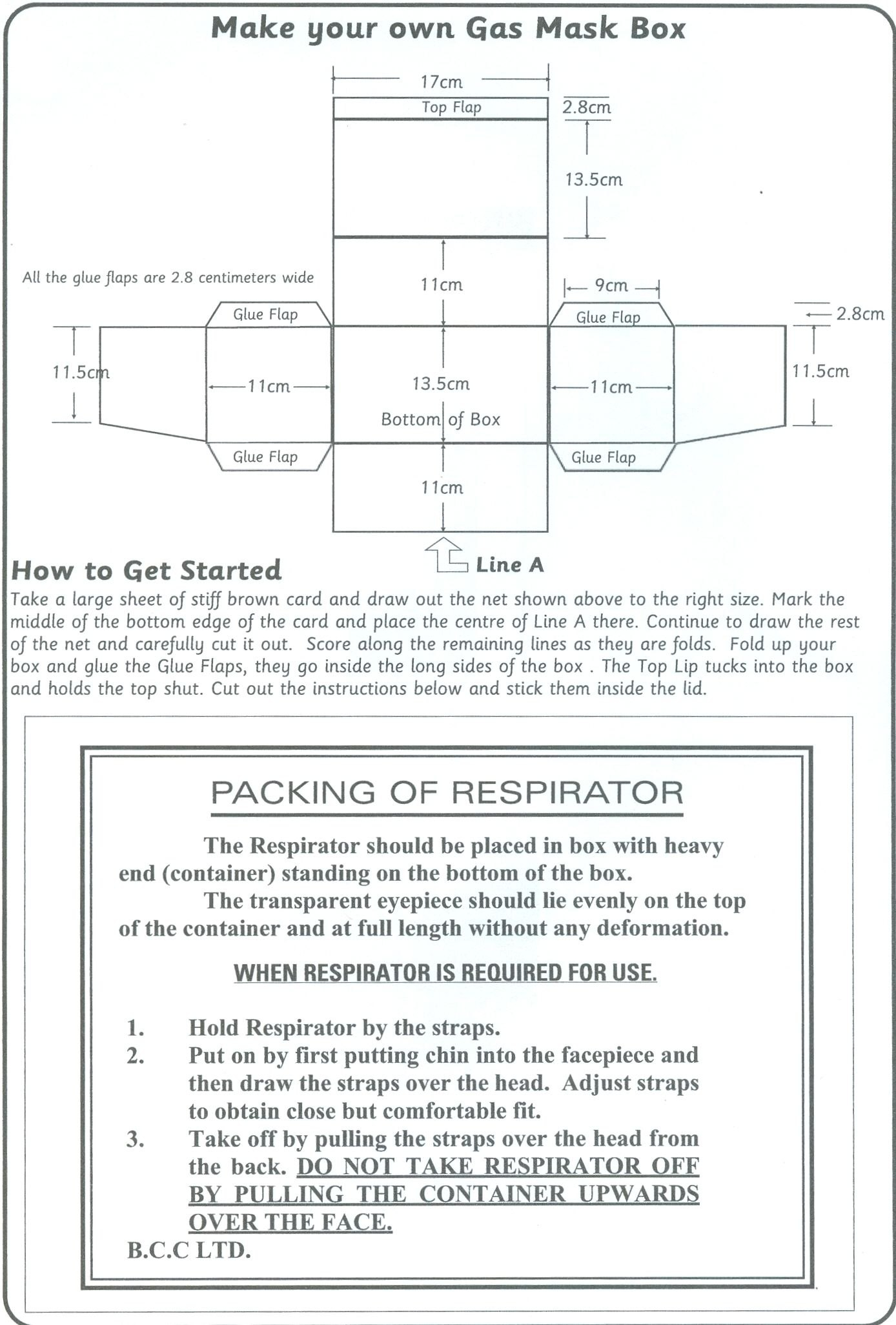 Template Of A Gas Mask Box  Google Search  Activities For Louis Throughout Evacuation Label Template