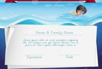 Template Of Certificate For Swimming Award Stock Vector inside Swimming Award Certificate Template