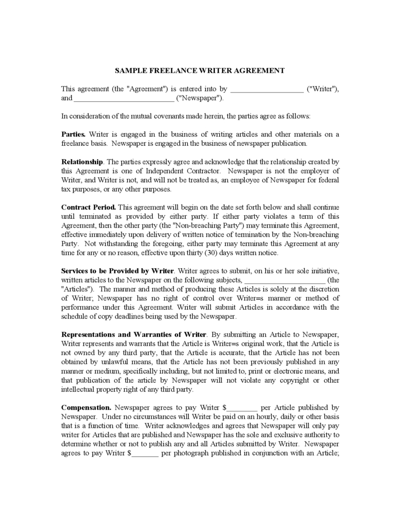 Template Templates Freelance Contract Template Freelance Contract Pertaining To Freelance Writer Agreement Template