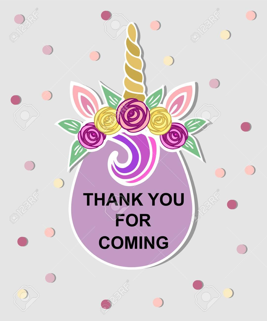 Template With Unicorn Tiara For Party Invitation Baby Shower Regarding Thank You Card Template For Baby Shower