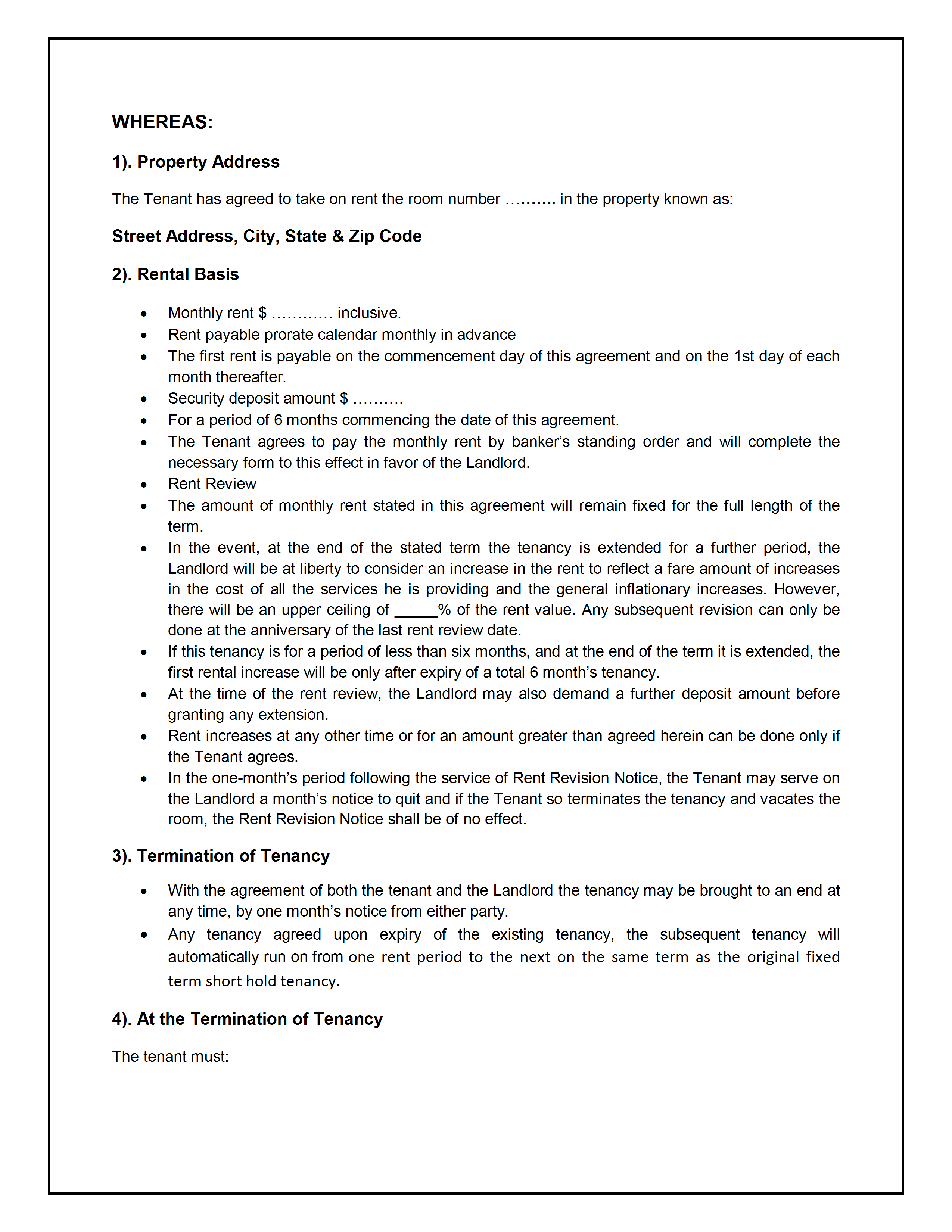 Tenancy Agreement Template With House Share Tenancy Agreement Template